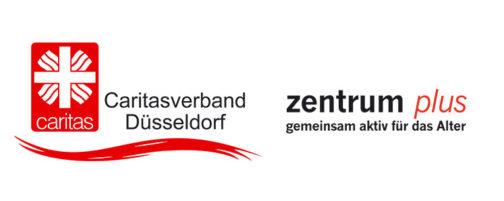 """Logos der Caritasverband Düsseldorf und """"Zentrum plus"""""""
